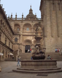 Fountain outside the Cathedral of Santiago de Compostela
